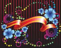 ribbon and fantastic flowers Stock Image