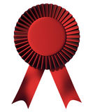 Ribbon first place award. Red  ribbon first place award isolated on white - 3d render Stock Image