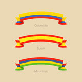 Ribbon with flag of Colombia, Spain and Mauritius. Royalty Free Stock Photo