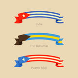 Ribbon with flag of Cuba, The Bahamas and Puerto Rico. Ribbon with flag of Cuba, The Bahamas and Puerto Rico in flat design style Stock Images