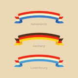 Ribbon with flag of Netherlands, Germany and Luxembourg. Stock Images
