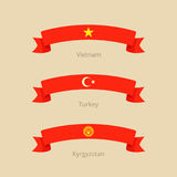 Ribbon with flag of Vietnam, Turkey and Kyrgyzstan. Ribbon with flag of Vietnam, Turkey and Kyrgyzstan in flat design style Stock Photo
