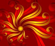 Ribbon Flower Background 3. A feminine decorative background texture featuring a swirling ribbon which resembles a flower in rich gold and red colors Royalty Free Stock Photo