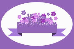Ribbon with Flowers. Lilac and pink flowers on a lilac ribbon Royalty Free Stock Photo