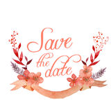 Ribbon and flowers Save the Date design Stock Image