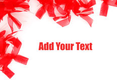 Ribbon frame. Decorative red ribbons for frame background Stock Photos