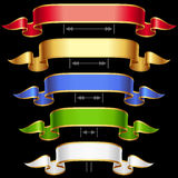 Ribbon frame set with adjusting length 2. Ribbon set with adjusting length. Vector red, golden, blue, green and white frame isolated on background Royalty Free Stock Photography