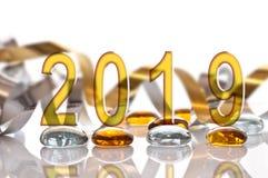 2019, ribbon and glass christmas decorations. 2019 ribbon and glass christmas decorations stock photography