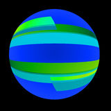 Ribbon Globe. A circular abstract image done is shades of blues and greens. A blue globe wrapped in ribbon Stock Images