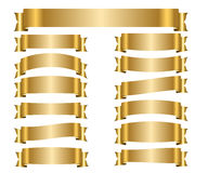 Ribbon gold banners set Royalty Free Stock Photography