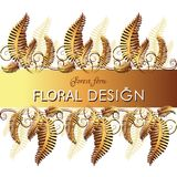 Ribbon with a gold fern. Ornament. Poster, postcard with flower leaves and place for text. The image can be used to decorate weddings, theme cards, invitations Royalty Free Stock Photos