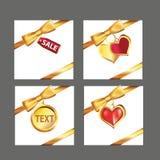 Ribbon Gold Set. Vector four Style excellent Stock Photos