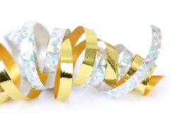 Ribbon Gold and Silver. Gold and silver ribbons isolated on white Stock Photo