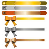 Ribbon,gold,silver and copper Stock Photos
