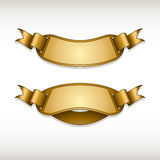 Ribbon gold stickers Royalty Free Stock Photo