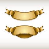 Ribbon gold stickers Royalty Free Stock Photo