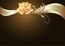 Ribbon and golden rose Stock Photography