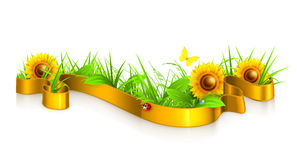 Ribbon in the grass. Computer illustration on white background Stock Photos
