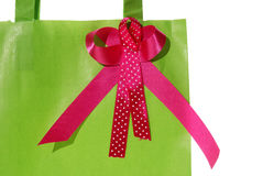 Ribbon on green paper bag Royalty Free Stock Photography