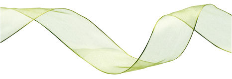 Ribbon green. On white background Stock Photos