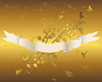 Ribbon with grunge floral background. Royalty Free Stock Photography