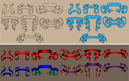 Ribbon hand-draw collection stock illustration