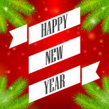 Ribbon Happy New Year. Christmas tree branch, red background Stock Images