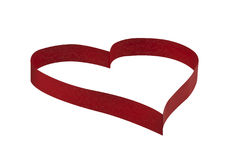 Ribbon Heart (inc. Clipping Path). Photo of a red ribbon forming heart. Isolated on white & includes clipping path Stock Photo