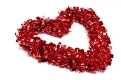 Ribbon Heart on White background. A red ribbon valentines heart on a white background Stock Photos