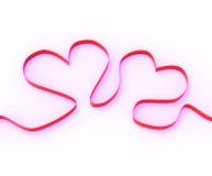 Ribbon Hearts Mean Romantic Anniversary. Ribbon Hearts Meaning Romantic Anniversary Present Or Affection Gift Royalty Free Stock Images