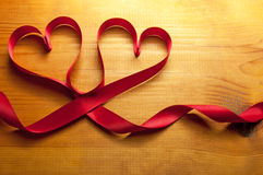 Ribbon hearts Stock Photo