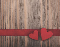 Ribbon and hearts -  vintage tonning Royalty Free Stock Images