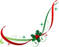 Ribbon with holly Royalty Free Stock Image
