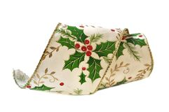 Ribbon with holly Stock Images