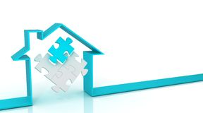 Ribbon house 3D, with puzzle inside. Cyan Stock Images