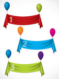 Ribbon infographic design hanging on ballons Stock Image