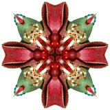 Ribbon Kaleidoscope. Abstract kaleidoscope in christmas colors of red and green Royalty Free Stock Images