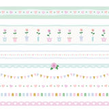 Ribbon, lace, garland set. Shabby shic design. Decorative elements for greeting cards, baby shower, wedding or scrapbook. Vector Stock Photography