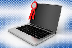 Ribbon and a Laptop In Halftone Background Royalty Free Stock Image
