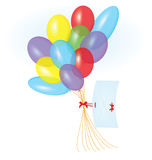 Ribbon letter and balloons vector Stock Photos