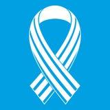 Ribbon LGBT icon white. Isolated on blue background vector illustration stock illustration