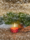 Ribbon Lighted Like Candle With Star Anise And Cinnamon Royalty Free Stock Photos