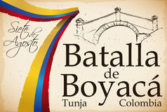 Ribbon like Colombian Flag over Scroll with Boyaca`s Bridge Design, Vector Illustration stock illustration
