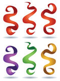 Ribbon Logo Set. A set of ribbons floats in the air in this logo icon set stock illustration