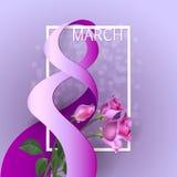 Ribbon March 8 greeting card Royalty Free Stock Photos