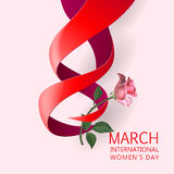 Ribbon March 8 greeting card Stock Image
