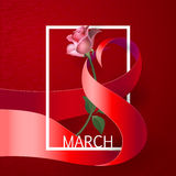 Ribbon March 8 greeting card Stock Images