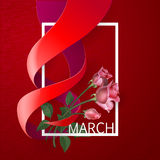 Ribbon March 8 greeting card. Happy Womens Day Paper Design. Ribbon March 8 greeting card with red roses and white frame. Vector logo illustration vector illustration