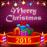 Ribbon 2015 and Merry Christmas gifts Stock Images