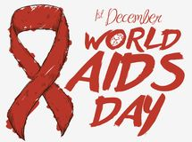 Ribbon Painted with Red Marker for World AIDS Day, Vector Illustration. Poster with a red ribbon in hand drawn style and painted with a marker to commemorate Royalty Free Stock Images